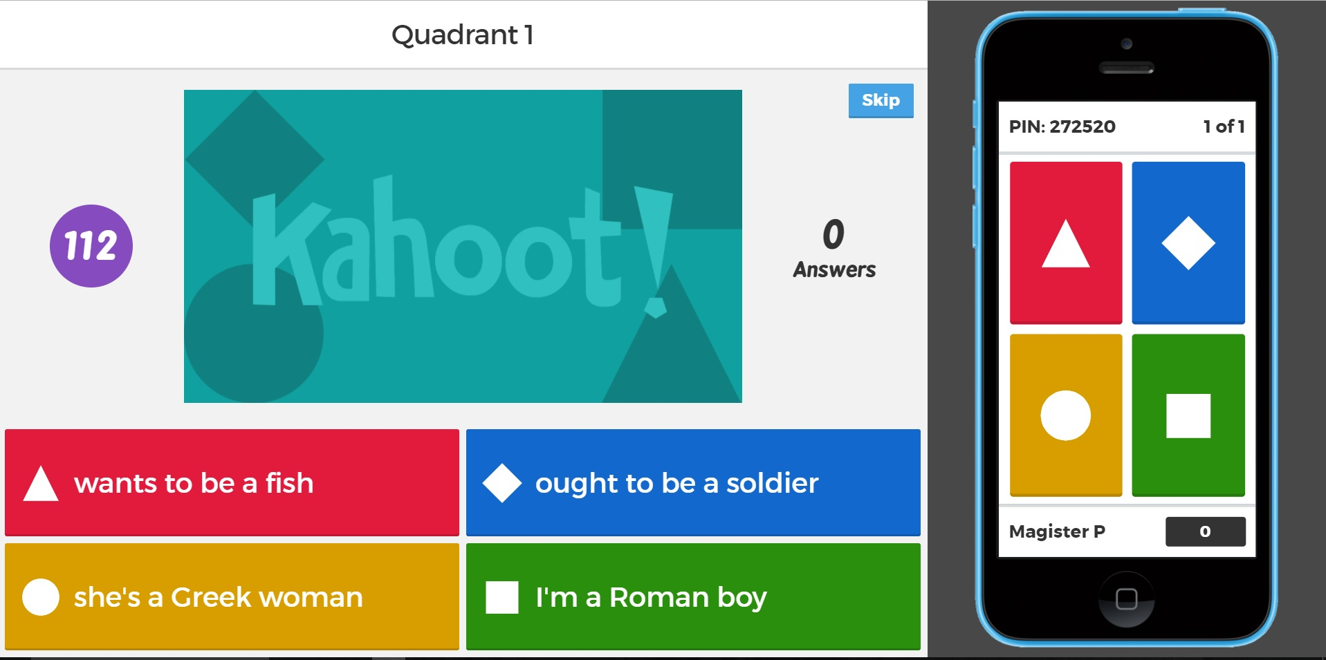 kahoot english quadrant word race